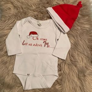 Christmas hat and onesie 0-6m boy girl neutral